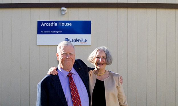 (L-R) Ed Fitzgerald and Sharon Harris at recent Arcadia House Open House event October 26, 2016.