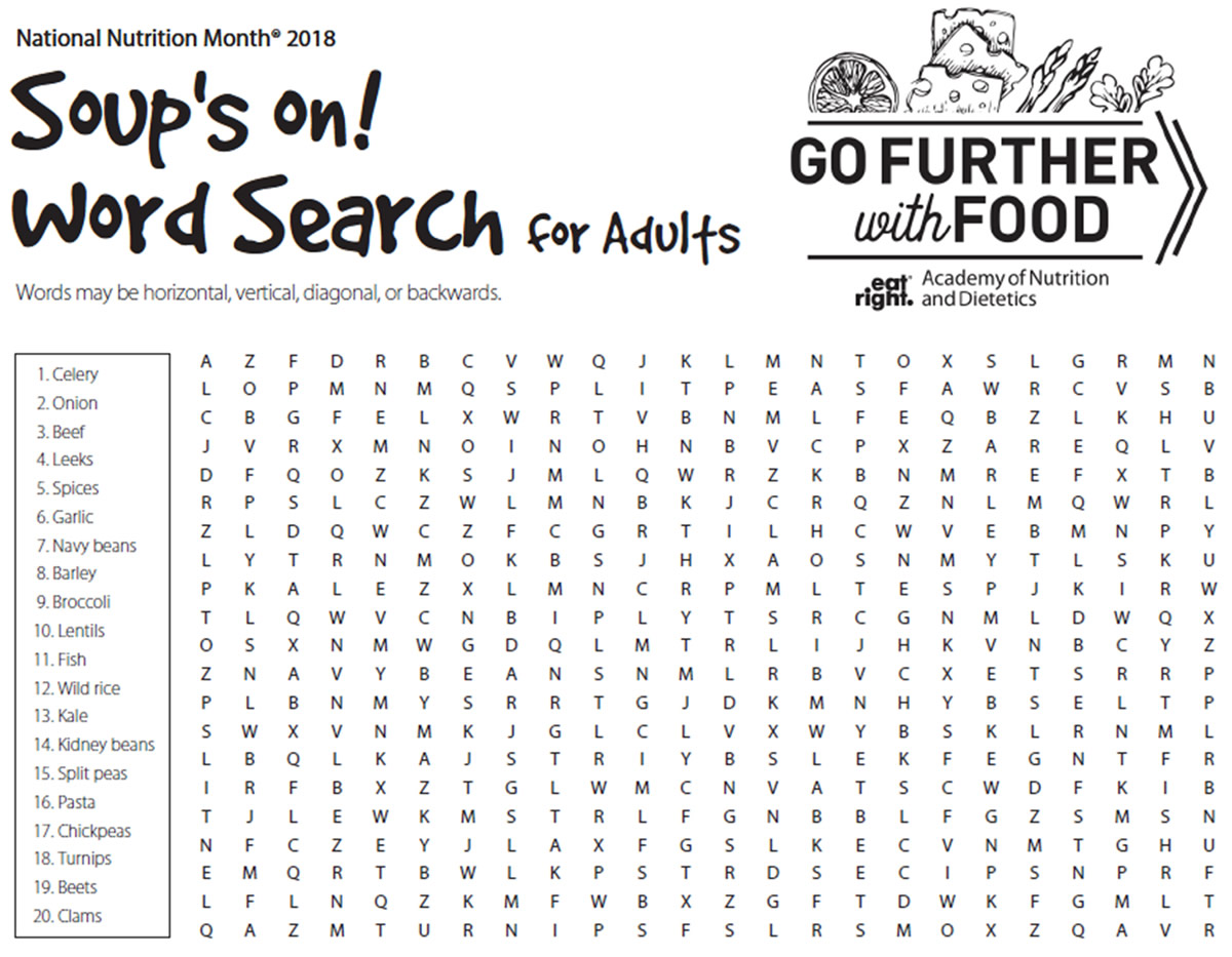 nutrition word search key picture gallery