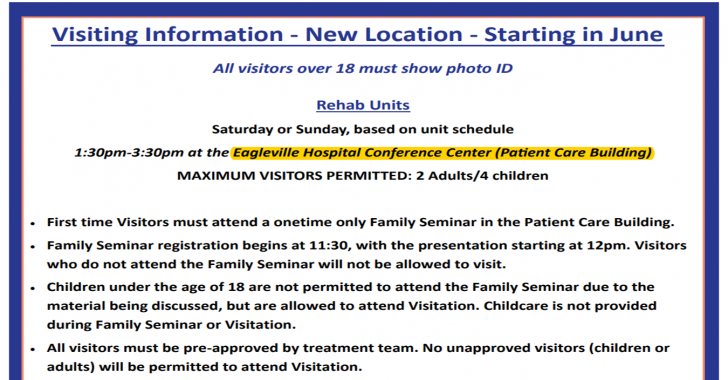 Weekend Visitation Changes Mean Easier, More Pleasant And Secure Experience